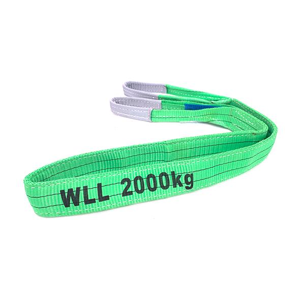 Grüner Polyester-Duplex-Flachgurt mit verstärkten Hebeösen 2 Tonnen