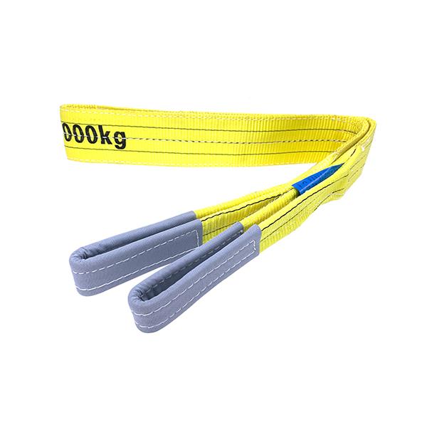 Gelbe Polyester-Duplex-Flachgurtschlinge mit verstärkten Hebeösen 3 Tonnen