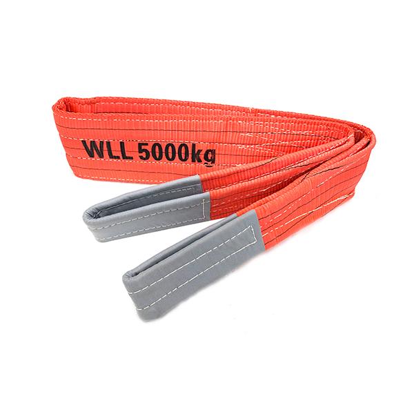 Roter Polyester-Duplex-Flachgurt mit verstärkten Hebeösen 5 Tonnen